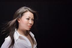 Beautiful asian woman in white Royalty Free Stock Images