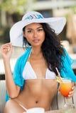 Beautiful Asian woman in white bikini Stock Image