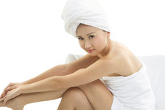 Beautiful Asian woman wrapped in towels. A Beautiful Asain woman wrapped intowels Royalty Free Stock Photography
