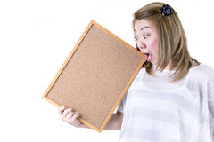 Beautiful asian women asian hold wood board Stock Photo