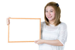 Beautiful asian women asian hold wood board Stock Images