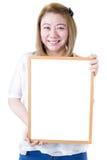 Beautiful asian women asian hold wood board Stock Image