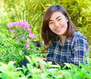 Beautiful asian women in flowers garden Stock Photography