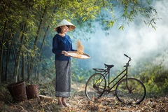 Beautiful Asian women winnowing grain with a happy smile. stock images