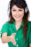 Beautiful asian worker welcome you royalty free stock images