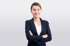 Free Beautiful Asian Young Business Woman On Grey Background. Royalty Free Stock Image - 76171646