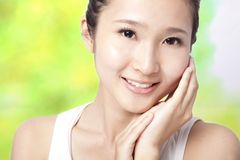 Beautiful asian young woman face Stock Photo