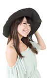 Beautiful asian young woman with hat Royalty Free Stock Image