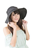 Beautiful asian young woman with hat Royalty Free Stock Photography