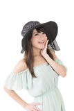 Beautiful asian young woman with hat Royalty Free Stock Photos