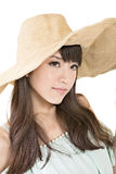Beautiful asian young woman with hat Stock Photos