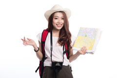 Beautiful asian young woman ready to travel during summer. Beautiful asian young woman ready to travel during summer Stock Photo