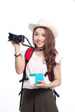 Beautiful asian young woman ready to travel during summer. Beautiful asian young woman ready to travel during summer Royalty Free Stock Images