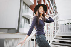 Beautiful asian young woman smiling on the city Royalty Free Stock Images