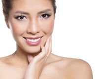Beautiful asian young woman in white dress with flawless skin Royalty Free Stock Photography