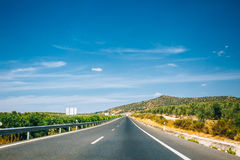 Beautiful asphalt freeway, motorway, highway in Andalusia, Spain Royalty Free Stock Images