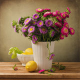 Beautiful aster flower bouquet Stock Photo