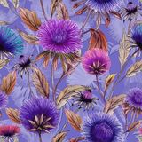 Beautiful aster flowers in different bright colors with brown leaves on lilac background. Seamless floral pattern. royalty free illustration