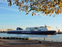 DFDS ATHENA SEAWAYS ship in Klaipeda town port, Lithuania Stock Images