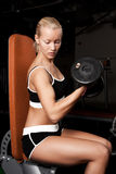 Beautiful athlete lifting heavy weights. Portrait of a sportswoman lifting heavy dumbbells in dark gym room Stock Images