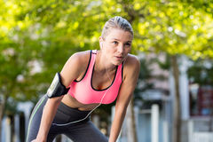 A beautiful athlete resting Royalty Free Stock Images