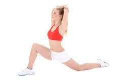 Beautiful athlete woman doing fitness exercise Stock Photos