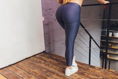 Beautiful Athletic Ass Close-up. Perfect Woman Buttocks In Lingerie. Clean Healthy Skin. Part Of Body. Healthy Lifestyle Stock Photography