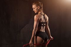 Beautiful athletic close-up. Perfect woman buttocks in lingerie. Clean healthy skin. Healthy lifestyle, diet and fitness. stock photography