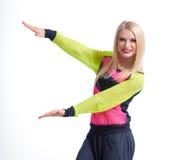 Beautiful athletic female dancer isolated on white royalty free stock photo