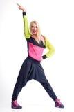 Beautiful athletic female dancer isolated on white Stock Photo