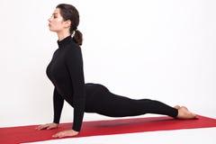 Beautiful athletic girl in black suit doing yoga. Urdhva Mukha Svanasana asanas - dogs pose muzzle up. Isolated on white Stock Image