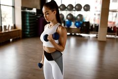 Beautiful athletic girl dressed in white sports top and tights builds up muscles with dumbbells royalty free stock image