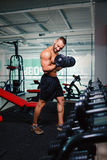 A beautiful athletic male with big dumbbells on a gym club background. A strong bodybuilder model man on a training. royalty free stock photography