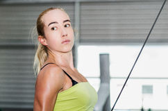 Beautiful athletic sporty young girl working out Stock Photo