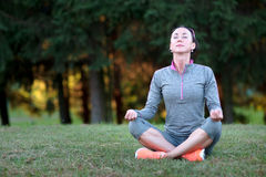 Beautiful athletic woman making yoga. Relax in nature. Royalty Free Stock Photography