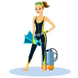 Beautiful athletic young scuba diver. Wearing a wetsuit with flippers and an aqualung  vector illustration Royalty Free Stock Photos