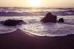Beautiful Atlantic beach in sunset Royalty Free Stock Image