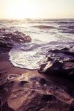 Beautiful Atlantic beach in sunset Stock Images