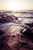 Beautiful Atlantic beach in sunset Stock Photos