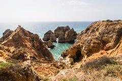 Beautiful atlantic ocean view horizon with sandy beach rocks and. Waves royalty free stock image