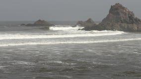Beautiful Atlantic Ocean waves rocky point on the Legzira beach stock footage