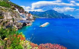 Scenic Amafi coast. view of Atrani village, Campania, Italia Royalty Free Stock Photos