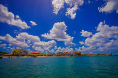 Beautiful attraction of Cozumel with some natural buildings and yachts, gorgeous blue ocean and sky Stock Photo