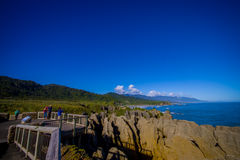 Beautiful attraction of limestone formations at Pancake Rocks, Punakaiki, West Coast, South Island, New Zealand Royalty Free Stock Photo