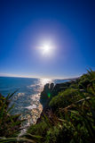 Beautiful attraction of limestone formations at Pancake Rocks with sun shine in the blue sky, Punakaiki, West Coast Stock Images