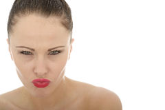 Beautiful Attractive Angry Young Caucasian Woman Looking Threate Royalty Free Stock Photography