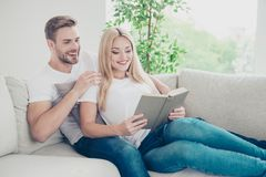 Beautiful attractive charming cute nice adorable cheerful couple royalty free stock images