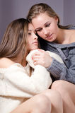 2 beautiful attractive charming young women girl friends in sweater with red manicure hugging on gray background Stock Photo