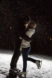 Beautiful, attractive couple on the ice rink Stock Photos