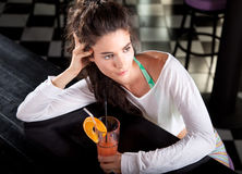 Beautiful attractive girl with cocktail Royalty Free Stock Photography
